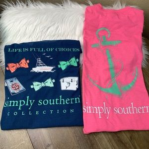 Simply Southern Short Sleeve Tees (2) Size L